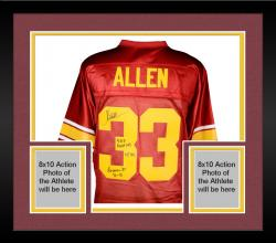 Framed Marcus Allen USC Trojans Autographed Legends Jersey with Multiple Inscriptions-#24 of a Limited Edition of 24