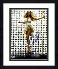 """Framed Mariah Carey Autographed 11"""" x 14"""" Standing with Gold Microphone Photograph - Beckett COA"""
