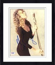 "Framed Mariah Carey Autographed 8""x 10"" Holding Microphone Photograph - PSA/DNA COA"