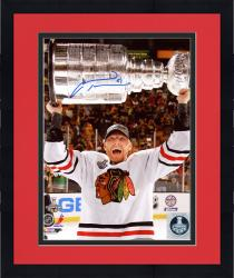 "Framed Marian Hossa Chicago Blackhawks 2013 Stanley Cup Autographed 8"" x 10"" Cup Overhead Photograph"