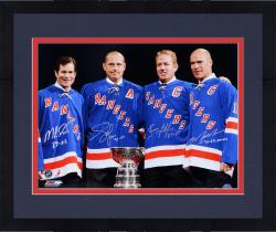 Framed Mark Messier, Brian Leetch, Adam Graves, & Mike Richter New York Rangers Autographed 16'' x 20'' Photograph - Mounted Memories  - Mounted Memories