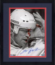 Framed Mark Messier New York Rangers Autographed 8'' x 10'' Vertical B&W Blood Photograph