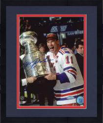 "Framed Mark Messier New York Rangers Autographed 8"" x 10"" Vertical Cup on Side Photograph"
