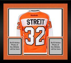 Framed Mark Streit Philadelphia Flyers Autographed Orange Reebok Premier Jersey