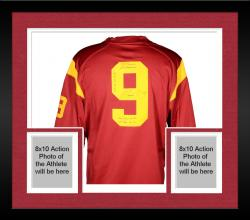 Framed Marqise Lee USC Trojans Autographed Limited Red Jersey with Multiple Stats Inscriptions