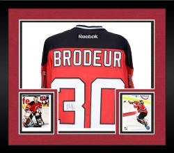 Framed Martin Brodeur New Jersey Devils Autographed Reebok Replica Red Jersey