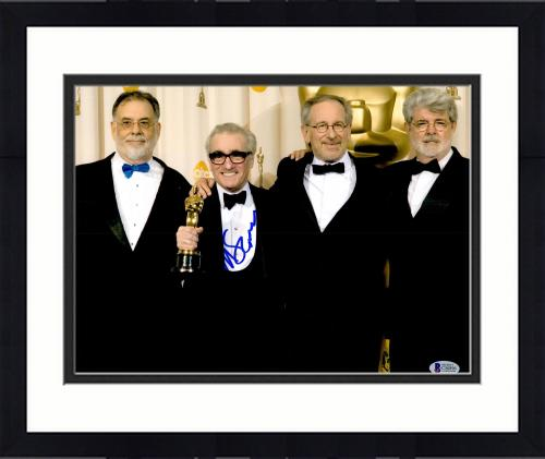 "Framed Martin Scorsese Autographed 11"" x 14"" Holding Oscar Award With Steven Speilberg And George Lucas Photograph - BAS COA"