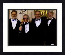 "Framed Martin Scorsese Autographed 11"" x 14"" Holding Oscar Award With Steven Speilberg And George Lucas Photograph - PSA/DNA COA"