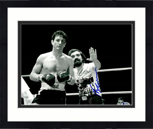 "Framed Martin Scorsese Autographed 11"" x 14"" Raging Bull Standing Next To Robert De Niro Wearing Clash Shirt Photograph - BAS COA"