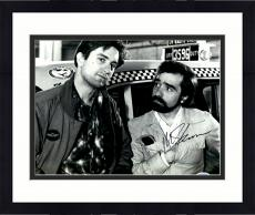 """Framed Martin Scorsese Autographed 11"""" x 14"""" Taxi Driver With Robert De Niro Standing In Front of Cab  Photograph - PSA/DNA COA"""