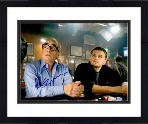 "Framed Martin Scorsese Autographed 11"" x 14"" The Departed Sitting With Leonardo DiCaprio Photograph - BAS COA"