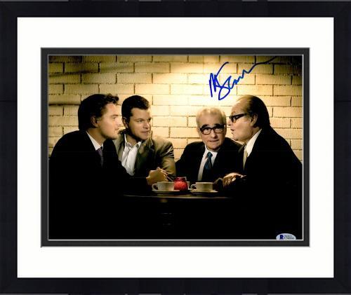 "Framed Martin Scorsese Autographed 11"" x 14"" The Departed Sitting With Matt Damon, Jack Nicholson, And Leonardo DiCaprio Photograph- BAS COA"