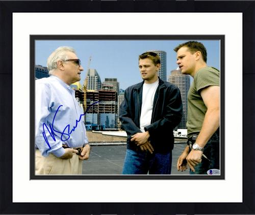 "Framed Martin Scorsese Autographed 11"" x 14"" The Departed With Matt Damon And Leonardo DiCaprio Photograph- BAS COA"