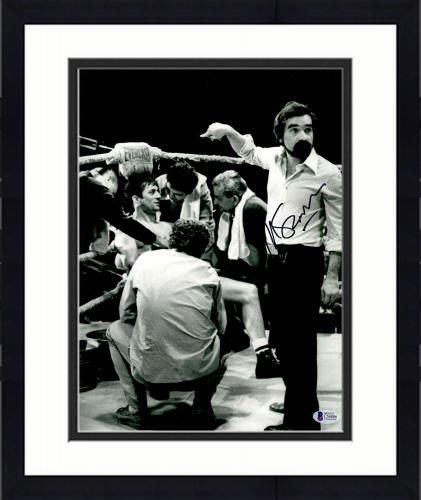 "Framed Martin Scorsese Autographed 11"" x 14""Raging Bull Poiting At Robert De Niro Sitting Down Photograph - BAS COA"