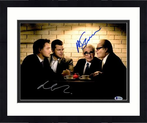 "Framed Martin Scorsese & Matt Damon Autographed 11"" x 14"" The Departed Sitting With Jack Nicholson & Leonardo DiCaprio Photograph- BAS COA"