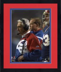 "Framed Marv Levy Buffalo Bills Autographed 8"" x 10"" with Headset Photograph with HOF 01 Inscription"