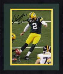 Framed Mason Crosby Green Bay Packers Super Bowl XLV Autographed 8'' x 10'' Photograph with XLV Champs Inscription