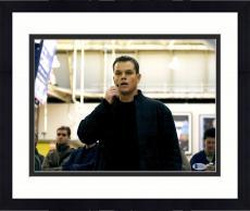 "Framed Matt Damon Autographed 11"" x 14"" Jason Bourne - Talking into Phone Photograph - Beckett COA"
