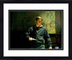 """Framed Matt Damon Autographed 11"""" x 14"""" The Departed - Holding Knife Photograph - Beckett COA"""