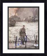 """Framed Matt Damon Autographed 8""""x 10"""" Saving Private Ryan Standing Behind Barb Wire Fence Photograph - PSA/DNA COA"""