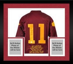 Framed Matt Leinart USC Trojans Autographed Embroidered Stats Jersey