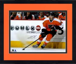 """Framed Matt Read Philadelphia Flyers Autographed Orange Jersey Stopping With Puck 16"""" x 20"""" Photograph"""
