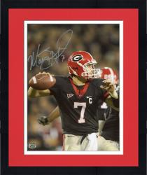 Framed Matt Stafford Georgia Bulldogs Autographed 8'' x 10'' Close Up Throw Silver Ink Photograph