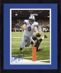 Framed Matt Stafford Detroit Lions Autographed 8'' x 10'' vs. New Orleans Saints Diving Touchdown Vertical Photograph