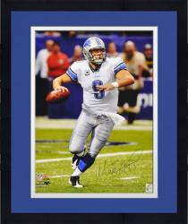 """Framed Matthew Stafford Detroit Lions Autographed 16"""" x 20"""" Ball In Hand Photograph"""