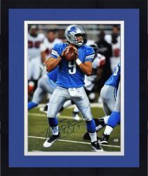 "Framed Matthew Stafford Detroit Lions Autographed 16"" x 20"" Blue Uniform Passing Photograph"