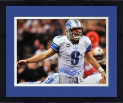 """Framed Matthew Stafford Detroit Lions Autographed 16"""" x 20"""" Yelling Photograph"""