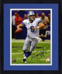 Framed Matthew Stafford Detroit Lions Autographed 8'' x 10'' Ball In Hand Photograph -