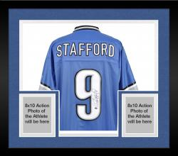 Framed Matthew Stafford Detroit Lions Autographed Authentic Reebok Jersey