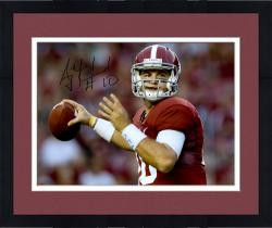 Framed AJ McCarron Alabama Crimson Tide Autographed 16'' x 20'' Red Uniform Photograph - Mounted Memories