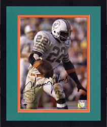 """Framed Mercury Morris Miami Dolphins Autographed 8"""" x 10"""" Pose with Ball Photograph with 17-0 Inscription"""