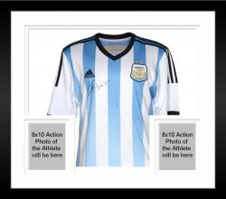 Framed Lionel Messi Argentina Autographed Blue and White Front Jersey