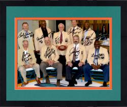 Framed Miami Dolphins Autographed 16'' x 20'' Hall of Famers Photograph with Multiple Signatures & Inscriptions