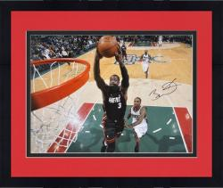 "Framed Dwyane Wade Miami Heat Autographed 16"" x 20"" vs. Milwaukee Bucks Photograph"