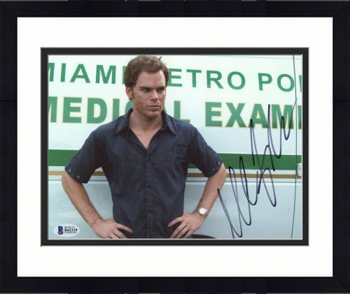 "Framed Michael C. Hall Autographed 8"" x 10"" Dexter Arms on Hips Photograph - Beckett COA"