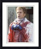 """Framed Michael C. Hall Autographed 8"""" x 10"""" Dexter Covered in Blood Photograph - Beckett COA"""