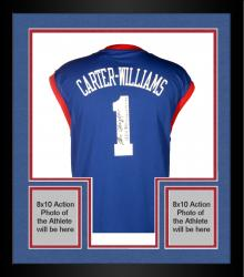 Framed Michael Carter-Williams Philadelphia 76ers Autographed adidas Replica Blue Jersey with Multiple Inscriptions