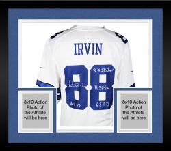 Framed Michael Irvin L/E Dallas Cowboys Autographed Replica White Jersey with Multiple Inscriptions-Limited Edition #1 of #88