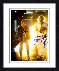 """Framed Michael J Fox And Christopher Lloyd Autographed 11"""" x 14"""" Back To The Future Standing In Front Of Fire Photograph - Beckett COA"""