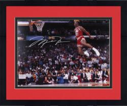 "Framed Michael Jordan Chicago Bulls Autographed 16"" x 20"" Gatorade Dunk Photograph"