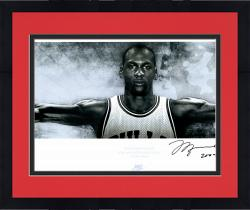 "Framed Michael Jordan Chicago Bulls Autographed 72"" x 23"" Wings Poster with HOF 2009 Inscription-Limited Edition of 123"