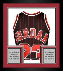Framed Michael Jordan Chicago Bulls Autographed Black & Pinstripe Jersey with HOF 2009 Inscription - Limited Edition of 123