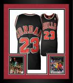 Framed Michael Jordan Chicago Bulls Autographed Mitchell & Ness Black Jersey with HOF 2009 Inscription-Limited Edition of 123