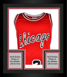 Framed Michael Jordan Chicago Bulls Autographed Mitchell & Ness Red Jersey