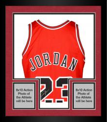 Framed Michael Jordan Chicago Bulls Autographed Red Jersey with ROY Patch & HOF 2009 Inscription - Limited Edition of 123