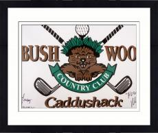 Framed Michael O'Keefe & Cindy Morgan Autographed Bushwood Caddyshack Golf Flag - Beckett COA